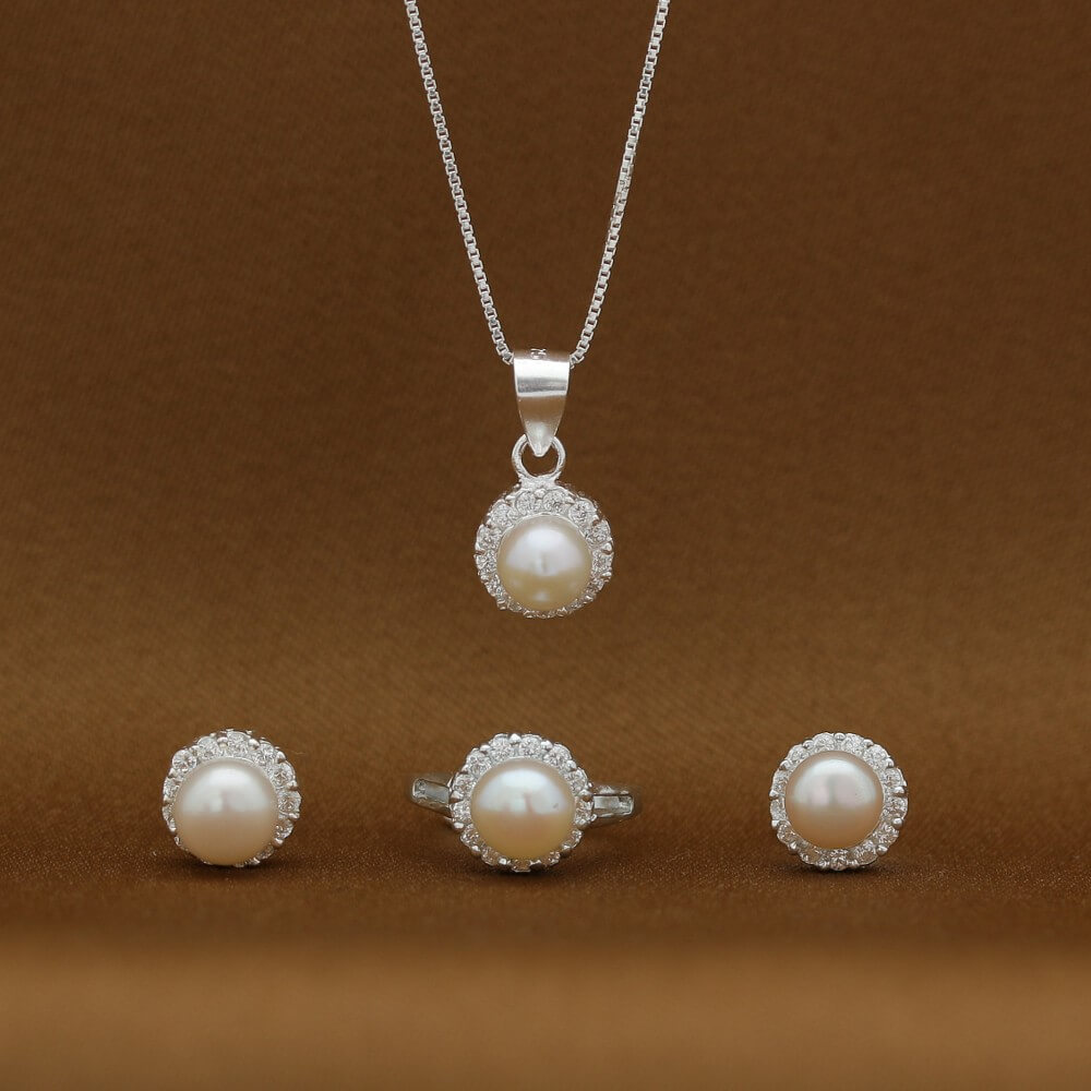 Pearl 925 Sterling Silver Necklace, Earrings and Ring Set for Kids by Argento