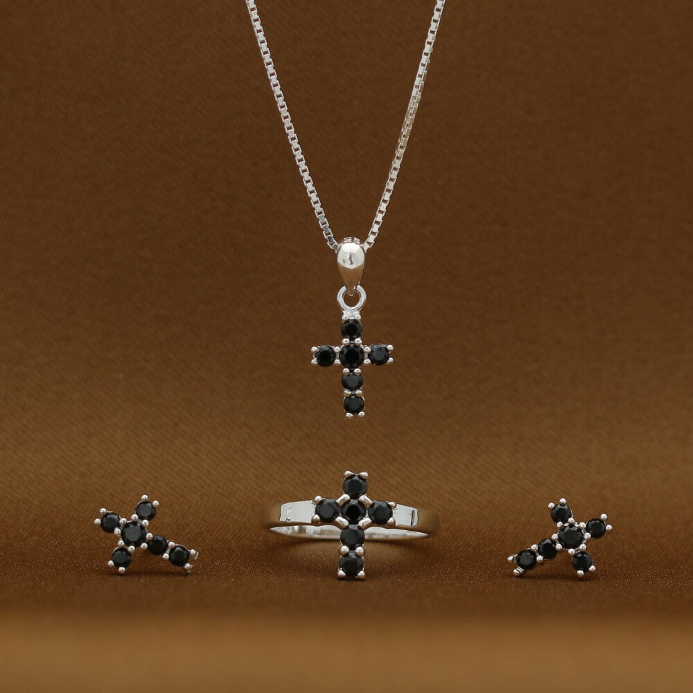 Magdalene Black Cross 925 Sterling Silver Necklace, Earrings and Ring Set by Argento
