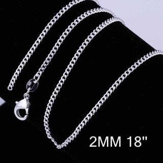 Curb Chain 2mm 18 inches (Silver Plated)