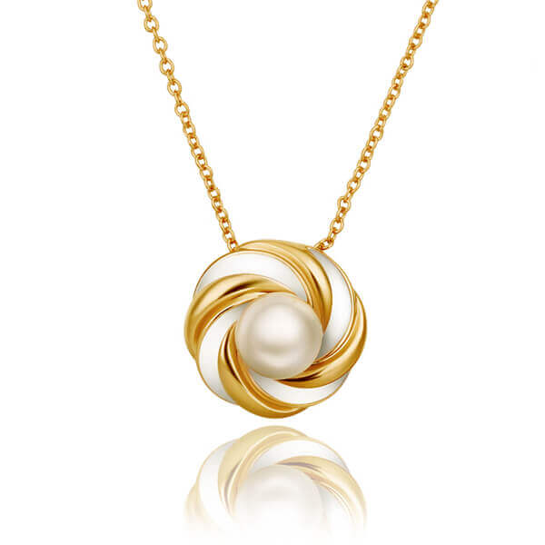 Swirl Pearl 18K Gold Plated Necklace