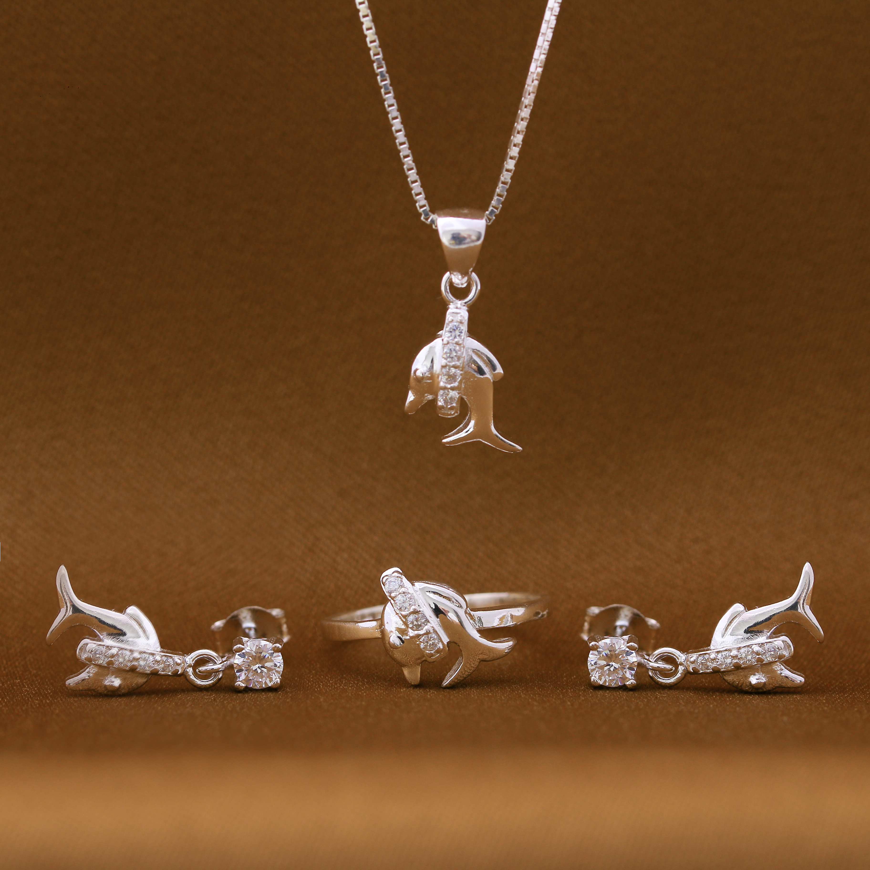 Marina Dolphin 925 Silver Necklace, Earrings and Ring Set by Argento